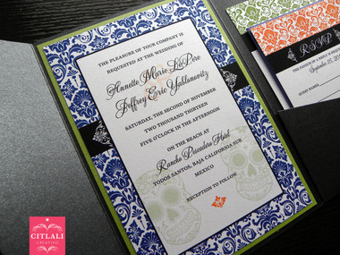 Damask Colorful Day of the Dead Skull Damask Wedding Invitation in blue, orange and green