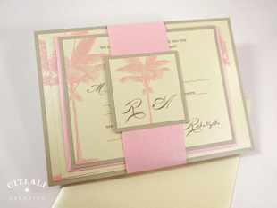 Pink & Sand Layered Palm Tree Beach Wedding Invitation