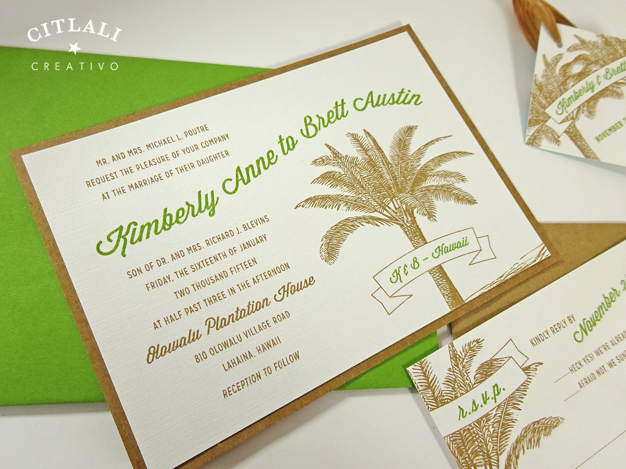 Burlap Wrapped Destination Palm Tree Wedding Invitation Set ...