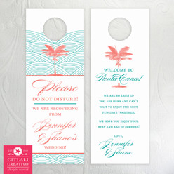 Palm Tree & Waves Destination Wedding Do Not Disturb Door Hangers for Guest Gift Bag Thank you's / Itinerary information