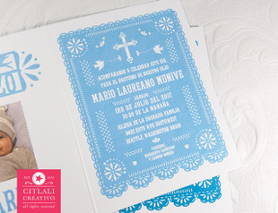 Papel Picado Folded Baptism Photo Invitations