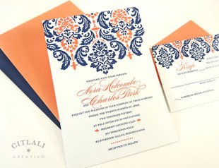 Two Tone Large Damask Top Wedding Invitation In Navy U0026 Coral