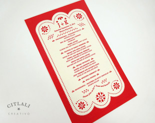 Red Papel Picado Wedding Ceremony Program Card