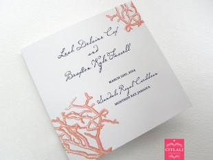 Coral Silver Filigree Stacked Wedding Programs Ribbon Multi