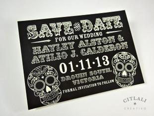 Black Day of the Dead Sugar Skull Save the Dates