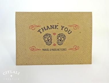 Kraft Sugar Skulls Curved Thank You Card Folded