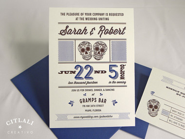 Modern Script Mexican Sugar Skulls Wedding Invitations