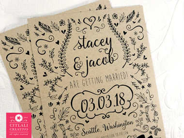 Hand Drawn Modern Nature Doodles Save the Dates