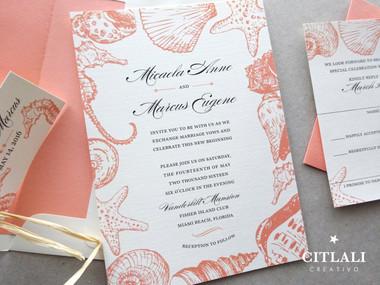 Seashells & Seahorses Beach Wedding Invitations in Coral