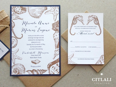 Rustic Burlap Seashells & Seahorses Beach Wedding Invitations in Navy
