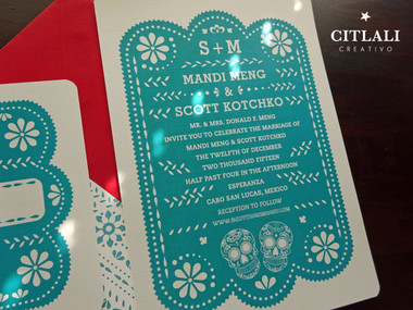 Teal Red Papel Picado Wedding Invitations With Sugar Skulls Citlali Creativo Llc