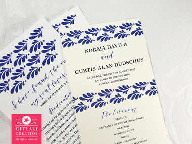 Talavera Inspired Wedding Program Spanish Tile Ceremony Programs