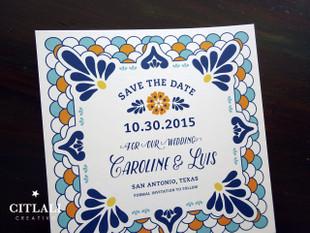 Talavera Spanish Tile Wedding Save the Dates