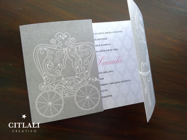 Silver & Pink Fairytale Horse Carriage Quinceañera Invitations
