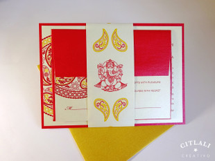 Ganesha Red & Gold Mandala Wedding Invitations