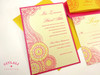 Henna Mehndi Indian Paisley Wedding Invitations in Hot Pink & Gold