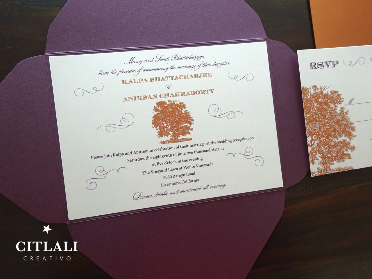 Plum & Copper Old Oak Tree & Wax Seal Pocket Wedding Invitations ...