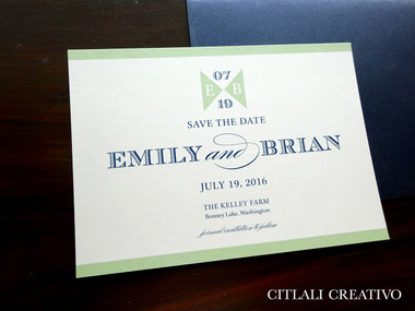 Mint Green & Navy Simple Modern Save the Dates