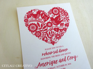 Love Birds in Heart Shape Papel Picado Rehearsal Dinner Invitations