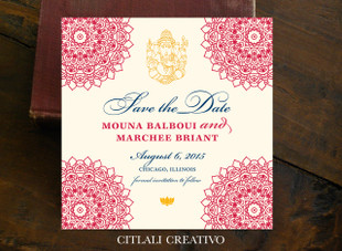 Mandala Ganesha Indian Wedding Save the Date Square Card