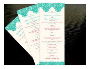 Floral Paisley Border Wedding Ceremony Programs