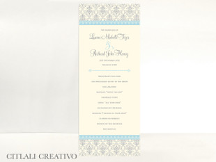Elegant Blue & Silver Damask Wedding Ceremony Programs