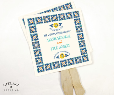 Talavera Spanish Tile Wedding Fan Programs with Wooden Stick Handle