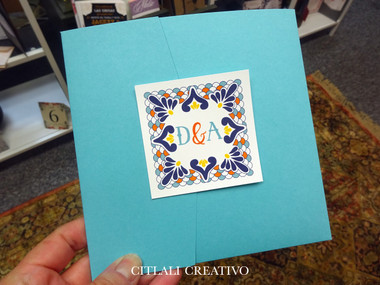 Turquoise Pocket Talavera Spanish Tile Wedding Invitations Citlali