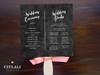 Chalkboard Style Flourish Fan Programs with Wooden Stick Handle