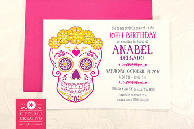 Floral Crown Sugar Skull Birthday Party Invitations  Your