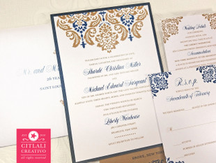 Antique Gold & Navy Blue Damask Wedding Invitations package