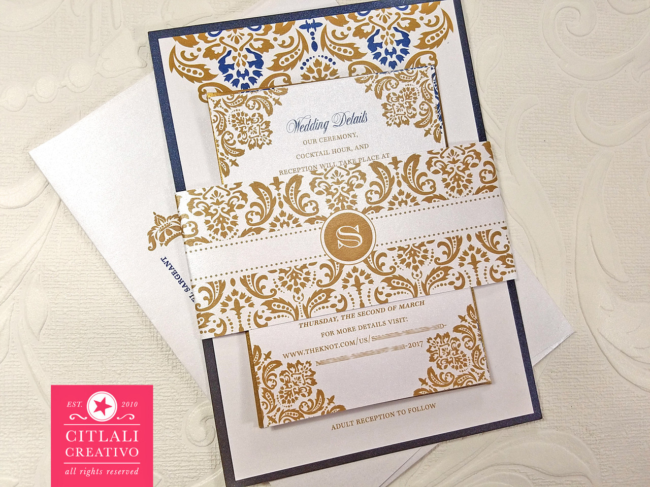 Antique Gold & Navy Blue Damask Wedding Invitations - Citlali ...