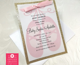 Ballerina Slippers Glitter Baby Shower Invitations