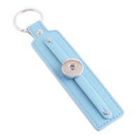 LEATHER STAINLESS STEEL KEYCHAIN REMOVABLE - BABY BLUE