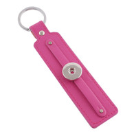 LEATHER STAINLESS STEEL KEYCHAIN REMOVABLE - HOT PINK