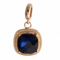 GOLD SAPPHIRE GLASS DANGLE  Z-CHARM
