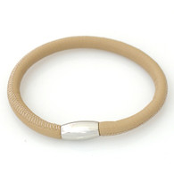 ZILLION CREAM PEANUT SINGLE LEATHER BRACELET