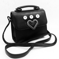 LEATHER SILVER HEART CROSSBODY BAG - BLACK