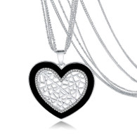 CROSS MY HEART PENDANT & EARRING SET - SILVER
