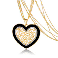 CROSS MY HEART PENDANT & EARRING SET - GOLD