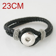 BLACK ONE BUTTOM BRAIDED LEATHER BRACELET - 23 CM