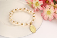 LUXE FRESHWATERS PEARLS GOLD BRACELET (VIRGIN MARY)