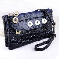 SOFT LEATHER ALLIGATOR INSPIRED BAG - NAVY