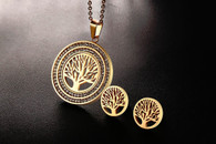 LUXE CHAKRA TREE OF LIFE CRYSTAL SET (STAINLESS STEEL - GOLD)
