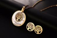LUXE ABALONE SHELL TREE OF LIFE CRYSTAL SET (STAINLESS STEEL - GOLD)