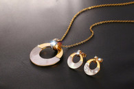 LUXE ABALONE SHELL CRYSTAL CIRCLE SET (STAINLESS STEEL - GOLD)