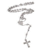LUXE SS MESH ROSARY NECKLACE