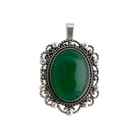 NATURAL STONE GREEN AGATE CAMEO
