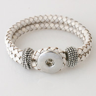 WHITE ONE BUTTOM BRAIDED LEATHER BRACELET - 21 CM