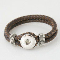 CHOCOLATE ONE BUTTOM BRAIDED LEATHER BRACELET - 21 CM